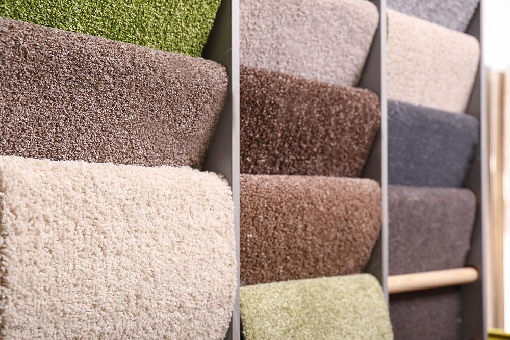 rack of carpet samples in store